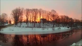 2/22 Maine Winter Sunrise Reflecting Off a Stream