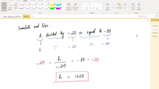 Math62_MAlbert_2.2_Solving equations using multiplication and division properties of equality