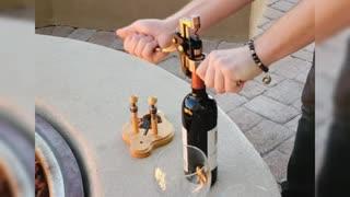 NOBLESIP Wine Bottle Opener Set-6 PCS Kit: Foil Cutter,2 Stoppers, Extra Corkscrew, Wood Stand