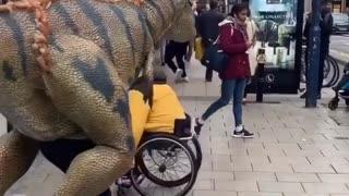 Dinosaur chasing people down the street LOL