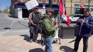 Anti-Lockdown Protest in front of Victoria Hall in Cobourg May 1, 2021