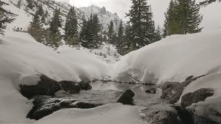 Snowy creek with trees and mountains around it