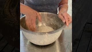 Sourdough bread, kneading the dough