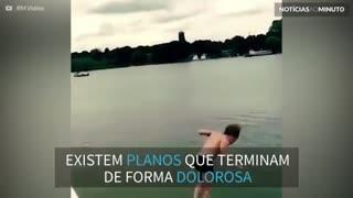 Salto mortal na água acaba em 'barrigada'