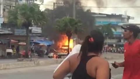 Deafening gas truck explosion in Rio de Janeiro