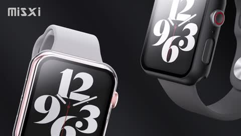 Hard PC Case with Tempered Glass Screen Protector Compatible with Apple Watch Series