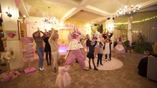 Cheerful children dance Baby shark