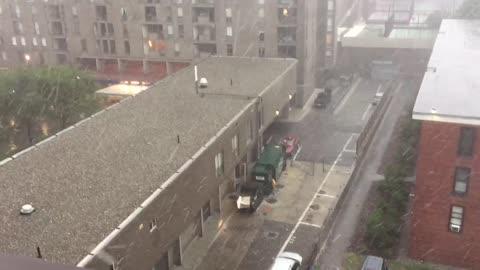 Golf ball sized hail in Boston thunderstorm