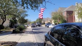 Largest American Flag Flown Behind Truck