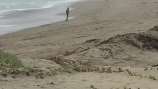 Man dancing practicing moves on beach