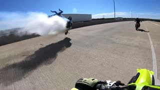 Female Motorcycle Stunt Rider Wipes Out