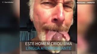 Com efeitos especiais, homem cria língua mutante