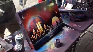Amazing Spray Paint Street ART! | Street Performers | Times Square