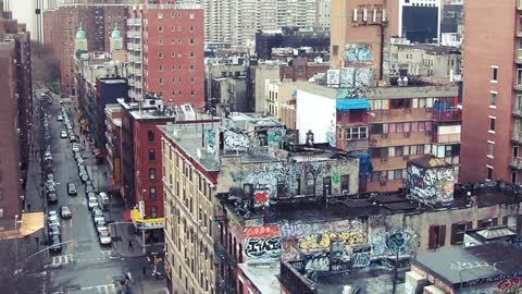 view from the subway train - New York City