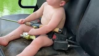 Boy Loves Fishing But Nap Time is Winning