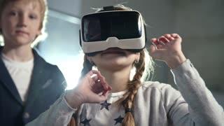 A Boy Wears A Virtual Reality Headset 3d