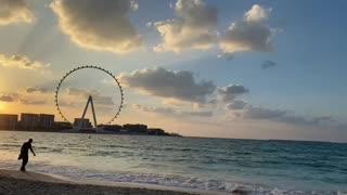Dubai Eye Beach Sunset with Waves