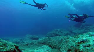 Watch divers in the depths of the sea very interesting and exciting
