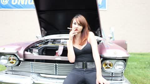 Pretty Girl Smokin By Classic Car!