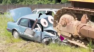 Amazing Powerful Excavator Destroys Car!
