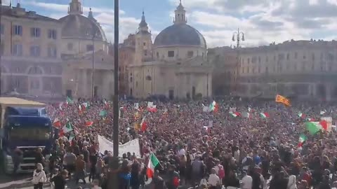 Large Freedom Rally Against The Vaccine Passport in Rome, Italy.