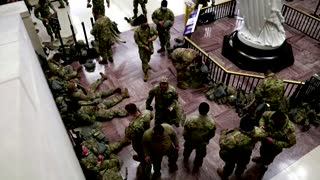 National Guard troops nap in U.S. Capitol