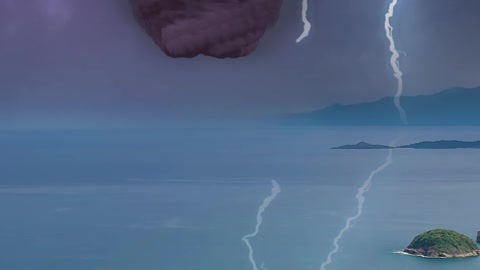 Over the sea, tornado with lightning