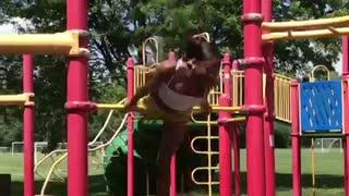 Woman performs insane flips on playground bar