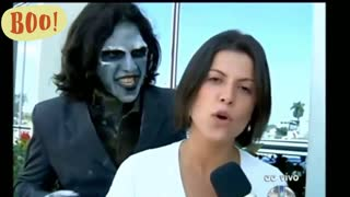 Reporter scared of zombie!