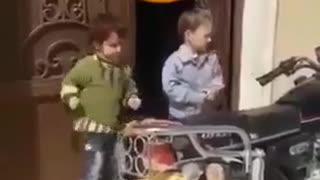The cute baby dancing