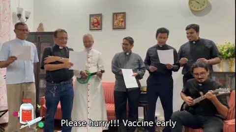 Bishop Dominic Savio Fernandes sings the Gospel according to St. Pfizer