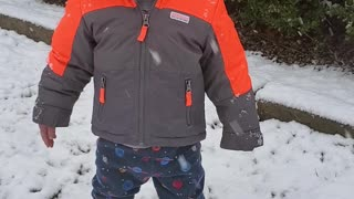 First snow experience for grandson