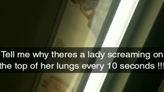Lady screams as loud as she can on subway train