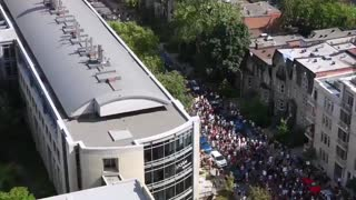 Large protest against the domestic vaccine passport in Montreal, Quebec, Canada.