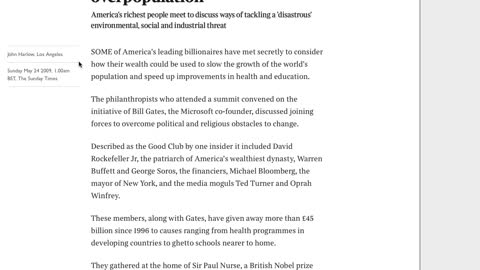 """Real Talk about the Article """"Billionaire Club in Bid to Curb Overpopulation"""""""