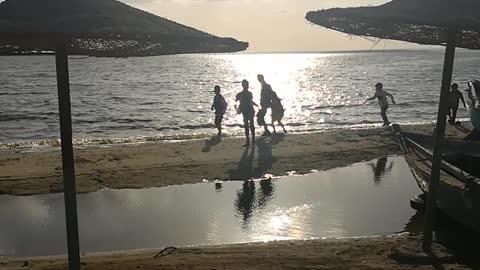 Boys Having Fun In Lovers Beach Qarun Lake