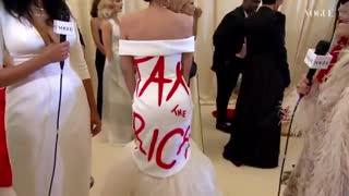 "Ironic AOC Wears ""Tax the Rich"" Dress at 30k Met Gala"