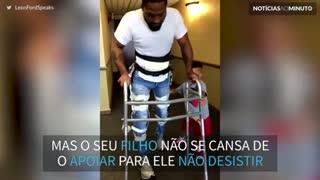 Filho incentiva o pai a não desistir da recuperação