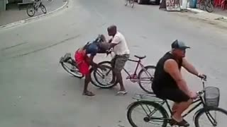 funny bike accident on the road