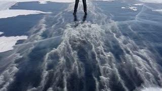 Strong Winds Slides Man Across Frozen Lake