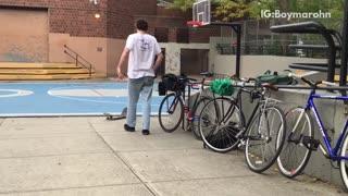 Guy with red hat falls skateboard breaks