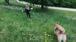 Girl and Dog Running in Grass Field 1#