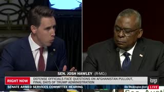 Sen. Hawley calls out Sec. Austin for leaving Americans behind in Afghanistan.