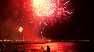 Fireworks lighting the beach sky