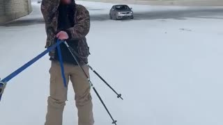 Texan Skis Down Highway With Beer and Cigar