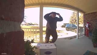 UPS Driver Dances for Home Surveillance Camera