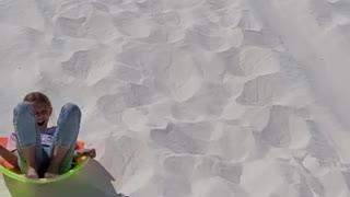 Sledding Race at White Sands National Park