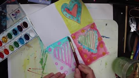 Family Art Night Hearts