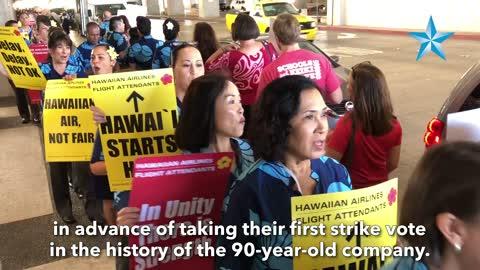 Hawaiian flight attendants picket in advance of strike vote