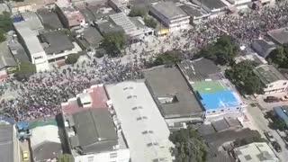 Helicóptero vigila la marcha en Cartagena